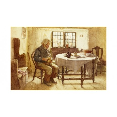 "WALTER LANGLEY ""A Poor Man's Meal"" ON CANVAS choose SIZE, from 55cm upwards, NEW"