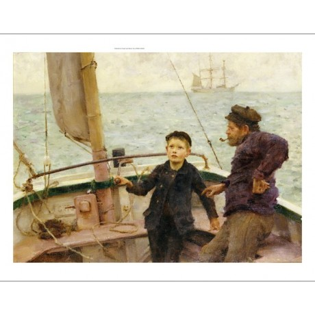 "HENRY SCOTT TUKE ""Steering Lesson"" Sail PRINT new choose SIZE, from 55cm up, NEW"