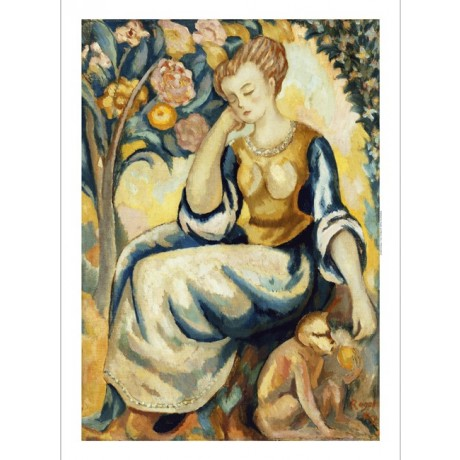 ROGER FRY Lady with a Monkey resting feeding animal YELLOW fruite CANVAS PRINT