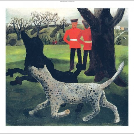 "CHRISTOPHER WOOD ""Dogs at Play"" soldiers park CANVAS various SIZES available"