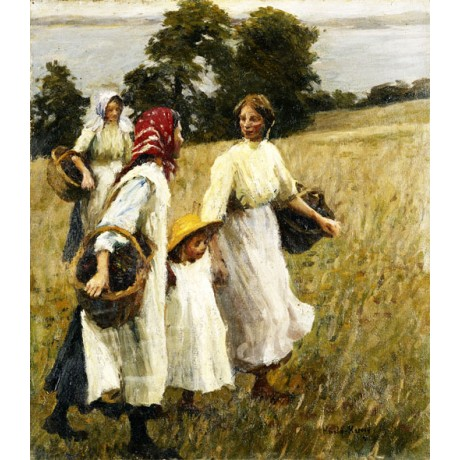 HAROLD HARVEY The Blackberry Harvest FAMILY women TEENAGER basket field CANVAS
