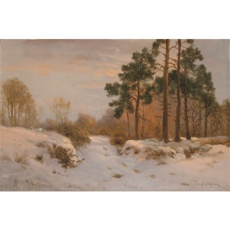"JOSEPH FARQUHARSON ""Winter's Day Last Gleam"" DUSK snow trees cold season CANVAS"