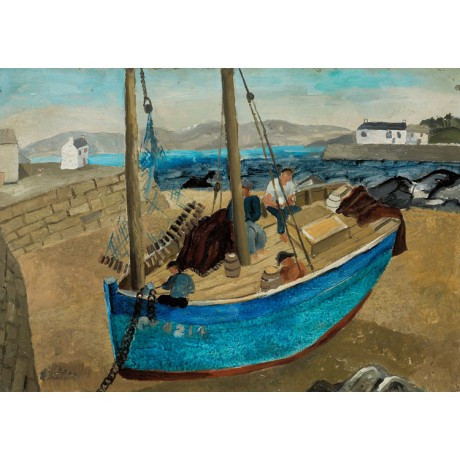 "CHRISTOPHER WOOD ""The Blue Boat"" beached coast fisherman harbour mast net"