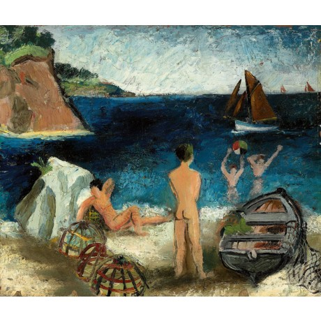 "CHRISTOPHER WOOD ""Bathers by the Sea, Treboul"" friendship buttock beach boat NEW"