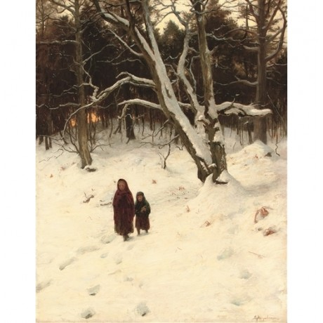 "JOSEPH FARQUHARSON ""A Walk in the Snow"" COLD forest poor children winter CANVAS"