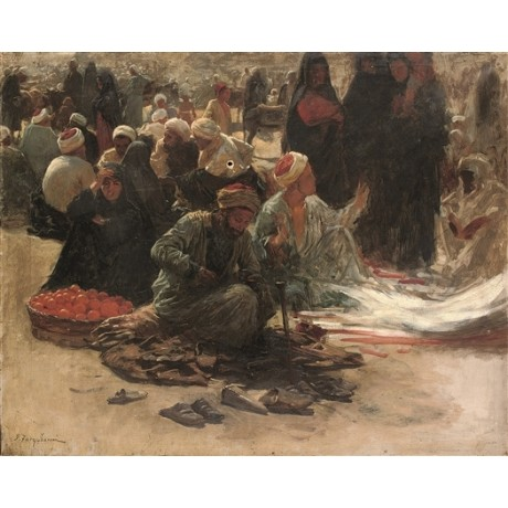 "JOSEPH FARQUHARSON ""Study for Market in Egypt"" ORANGES shoes barefoot CANVAS"