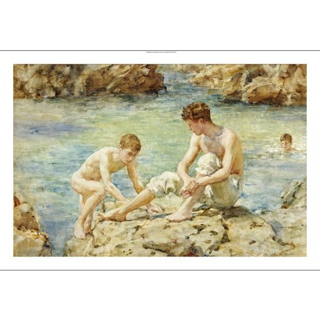 "HENRY SCOTT TUKE ""Bathers"" Male Nude ON CANVAS choose SIZE, from 55cm up, NEW"