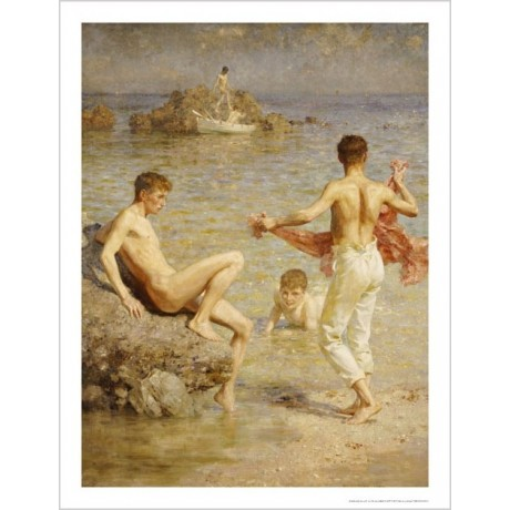 "HENRY SCOTT TUKE ""Gleaming Waters"" Male Nude Print choose your SIZE, 55cm up"