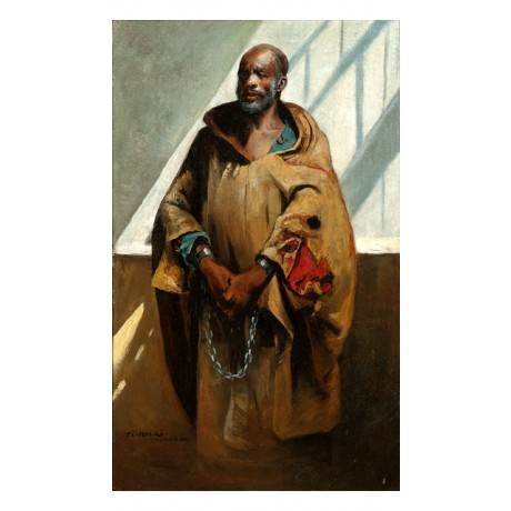 "GYALA TORNAI ""At the slave market, Tangier"" PROUD man in CHAINS african CANVAS!"