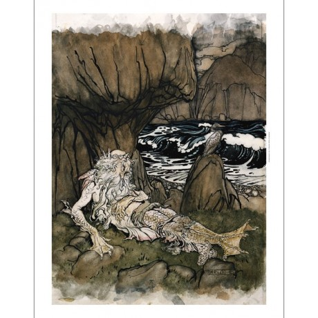 "NEW CANVAS PRINT of FANTASTICAL RACKHAM work ""Crowned Merman Sea God Sleeping"""