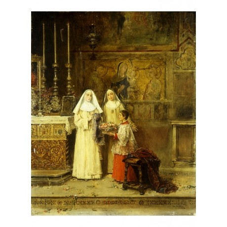"JOSE GIL ""Celebrating Santa Maria Rosa"" OFFERING nuns altar christianity CANVAS"