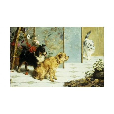 EYCKEN Playful Friends WATCHFUL rivals cat dogs caution curiosity CANVAS PRINT