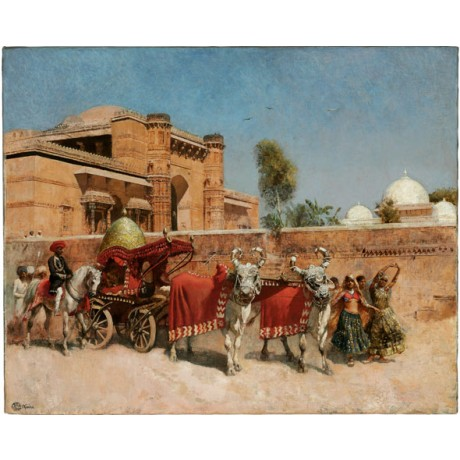 "EDWIN LORD WEEKS ""A Wedding Procession"" celebration DANCING rajasthan gold NEW!"