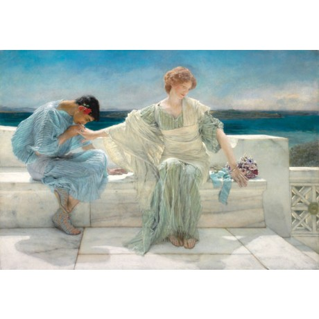 "SIR LAWRENCE ALMA-TADEMA ""Ask me no more"" woman REBUFFS suitor classical NEW!"