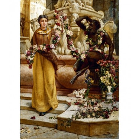 """FRANK WARWICK TOPHAM """"The Flower Garland"""" NEPTUNE fountain florence NEW CANVAS!"""
