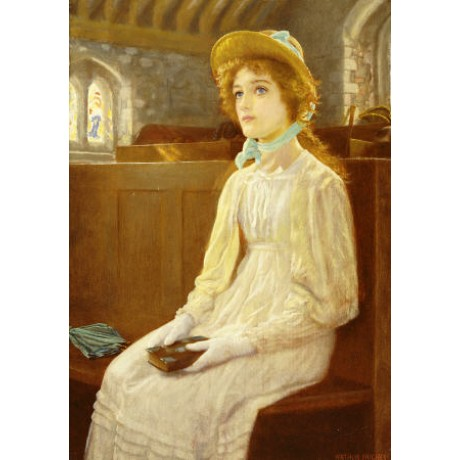 "ARTHUR HUGHES ""Faith"" church portrait ON CANVAS choose SIZE, from 55cm up, NEW"