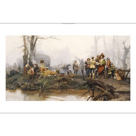 "CESARE AUGUSTE DETTI ""Encampment"" Military ON CANVAS various SIZES available"