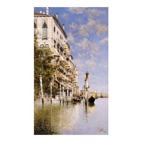 """RAFAEL SENET """"Along Grand Canal"""" PRINT ON CANVAS choose SIZE, from 55cm up, NEW"""