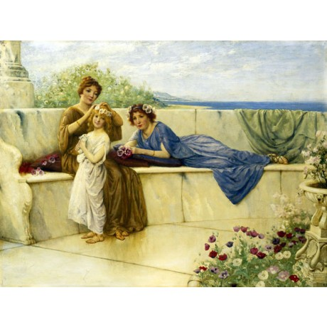 "ALFRED WEATHERSTONE ""Summertime"" family MOTHER balcony sea flowers CANVAS PRINT"