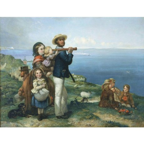 "JANE MARIA BOWKETT ""Watching Ships"" TELESCOPE coast family picnic NEW CANVAS"