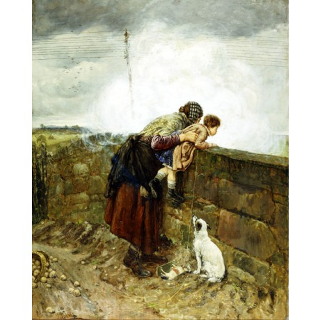 "HENRY ROBERTSON ""Watching the Steam Train"" EXCITEMENT mother child dog CANVAS"