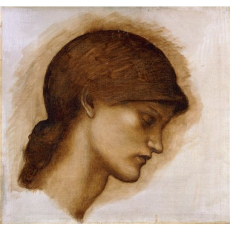 "Sir Edward Coley Burne-Jones ""Study of a Lady's Head"" solemn meditative CANVAS"