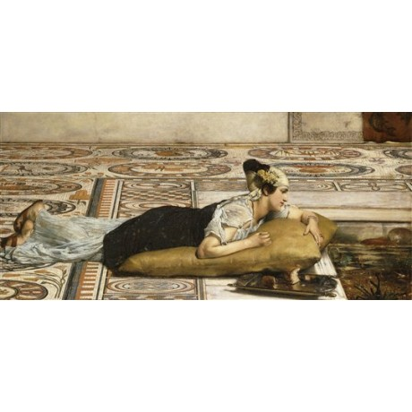 Sir Lawrence Alma-Tadema Water Pets: Goldfish pond pre-raphaelite CANVAS PRINT
