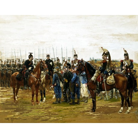 """JEAN BAPTISTE DETAILLE """"French Cuirassiers holding Bavarian Soldiers"""" NEW PRINT"""