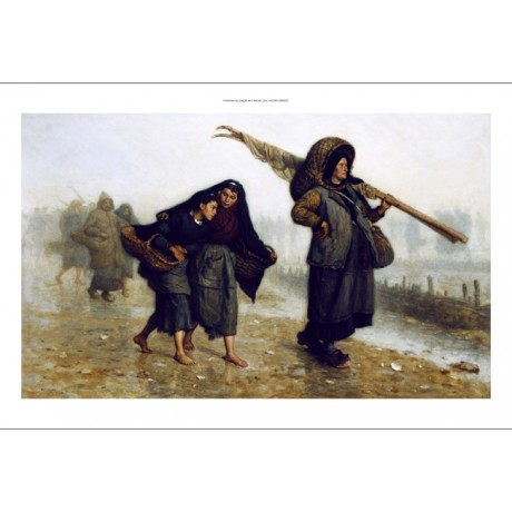 JACQUES EUGENE FEYEN The Shell Collectors women BAREFOOT coast rain NEW CANVAS