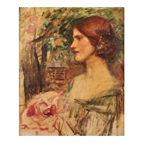 JOHN WILLIAM WATERHOUSE Lady with flowers PRINT new various SIZES available, NEW