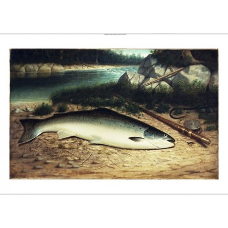 "WALTER BRACKETT ""Landed"" fishing rod new CANVAS print! various SIZES, BRAND NEW"