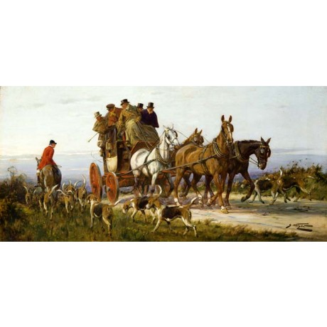 GEORGE WRIGHT Passing the Hunt STAGECOACH hounds horses rural NEW CANVAS PRINT