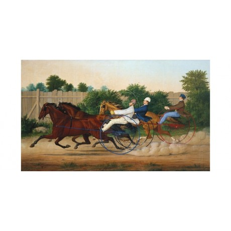 "LOUIS MAURER ""Trotting Contest Union Course"" ON CANVAS! various SIZES, BRAND NEW"