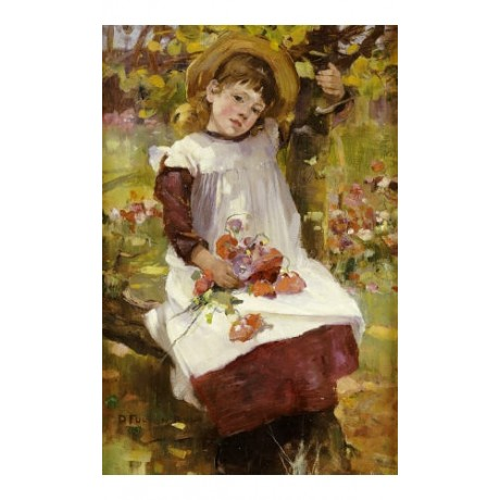 "DAVID FULTON ""Poppy Gatherer"" Girl CANVAS PRINT ! choose SIZE, from 55cm up, NEW"