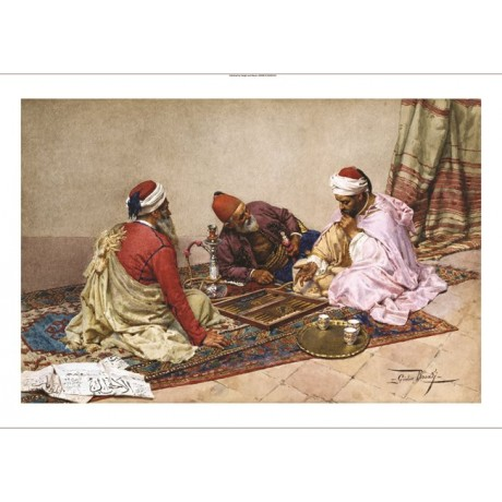 "GIULIO ROSATI ""The Backgammon Players"" new CANVAS print various SIZES, BRAND NEW"
