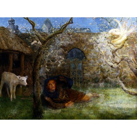 "ARTHUR HUGHES ""Caedmon's Awakening"" APPARITION poet animals dream CANVAS PRINT"
