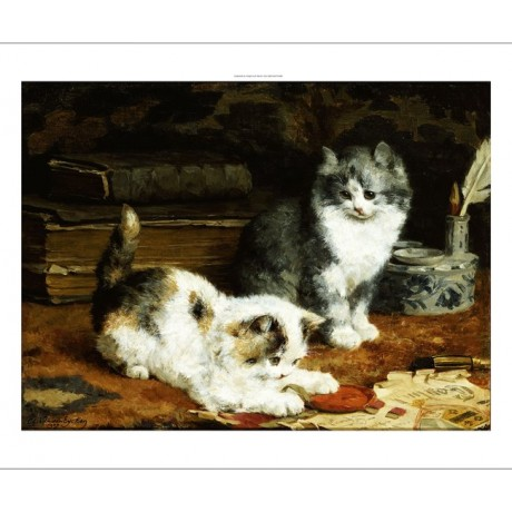 "CHARLES VAN DEN EYCKEN ""Signed And Sealed"" Cat art choose SIZE, from 55cm up"