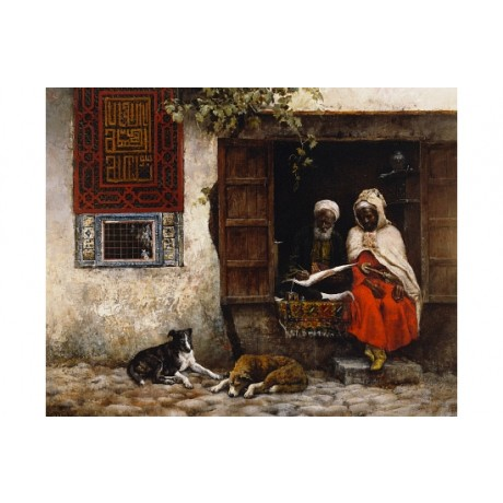 "EDWIN WEEKS ""Visit To The Scribe"" ARAB writing beard stylus NEW CANVAS PRINT"