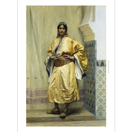 GEORGES BRETEGNIER An Odalisque female SLAVE yellow belt earrings CANVAS PRINT