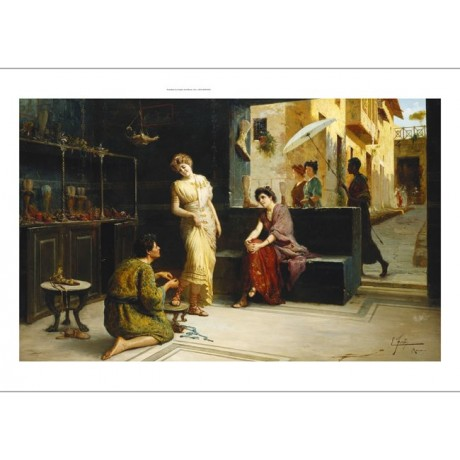"ETTORE FORTI ""Lo Stilisa, Pompei"" STYLIST shoe shop servant women CANVAS PRINT"