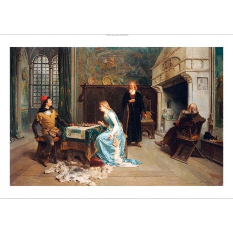 "GIROLAMO INDUNO ""Playing Chess"" PRINT ON CANVAS choose SIZE, from 55cm up, NEW"