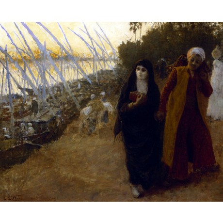 "EDWIN LORD WEEKS ""By the Nile"" VEILED burqa couple holding hands CANVAS PRINT"