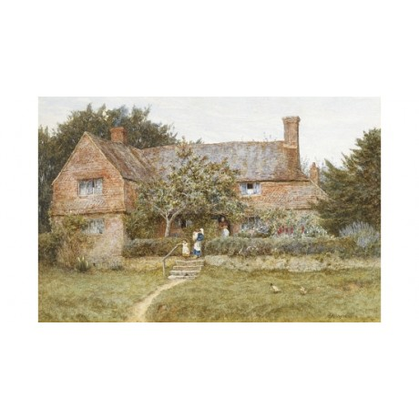 "HELEN ALLINGHAM ""Surrey Cottage With Mother"" ON CANVAS! various SIZES, BRAND NEW"