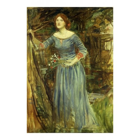 JOHN WILLIAM WATERHOUSE Ophelia STARING flowers garden blue redhead NEW CANVAS