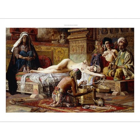 "Gyula Tornai ""The Favourite of the Harem"" arab woman reclining servants hookah"