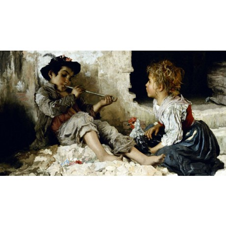 ADRIANO BONIFAZI A Captivated Audience BOY reed pipe girl poverty CANVAS PRINT