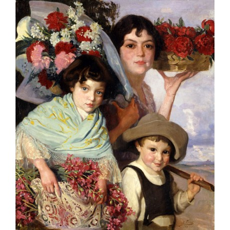 "EDOUARD FERRER-COMAS ""Flower Gatherers"" SMILING son daughter PROUD mother NEW!!"