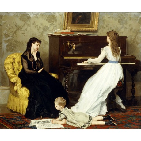 "GUSTAVE LEONARD DE JONGHE ""Practising"" DAUGHTER mother PIANO boy relaxing NEW"
