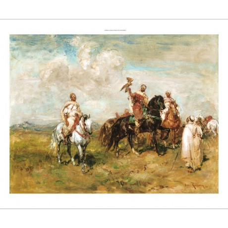 "HENRI EMILIEN ROUSSEAU ""The Falconers"" ARABIAN HORSE bird hunt skill NEW CANVAS"