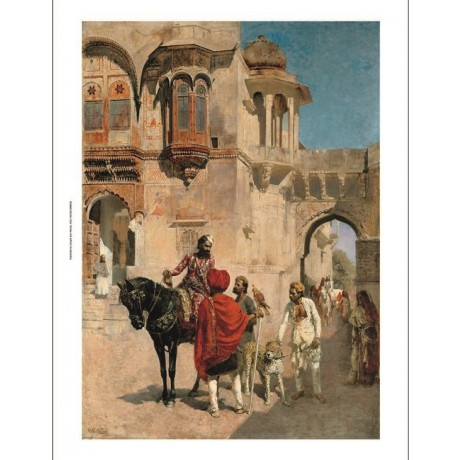 EDWIN WEEKS Forecourt of Palace of Jodhpore HUNT india horses dog royal CANVAS